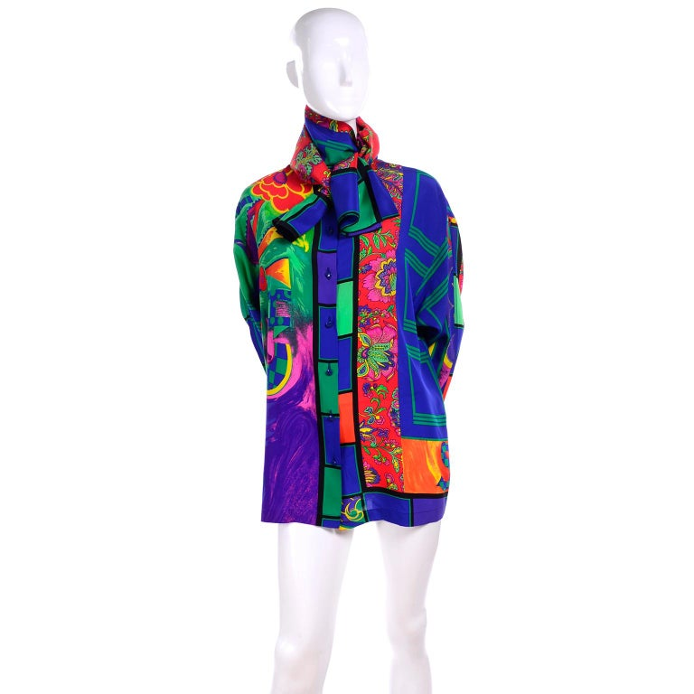 Purple Early Gianni Versace Vintage Abstract Mixed Pattern Silk Print Blouse & Scarf For Sale