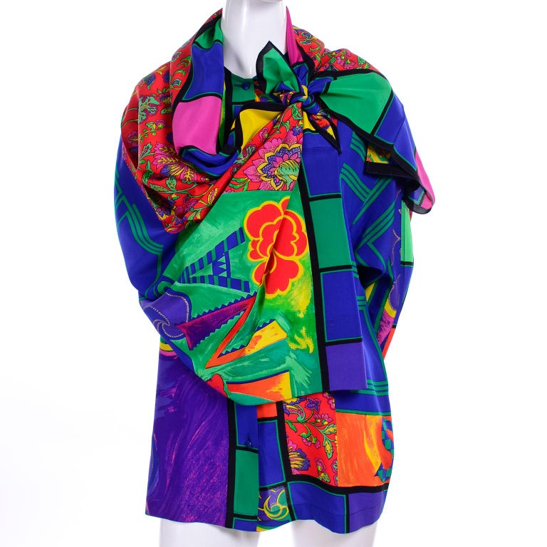 Early Gianni Versace Vintage Abstract Mixed Pattern Silk Print Blouse & Scarf In Excellent Condition For Sale In Portland, OR