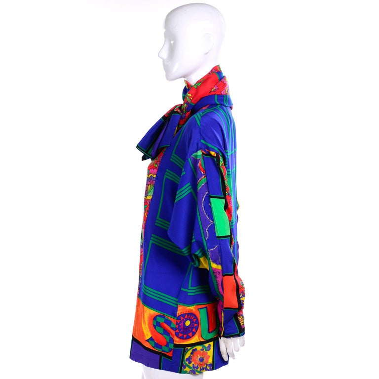 Women's Early Gianni Versace Vintage Abstract Mixed Pattern Silk Print Blouse & Scarf For Sale