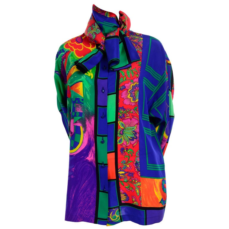 Early Gianni Versace Vintage Abstract Mixed Pattern Silk Print Blouse & Scarf For Sale 3