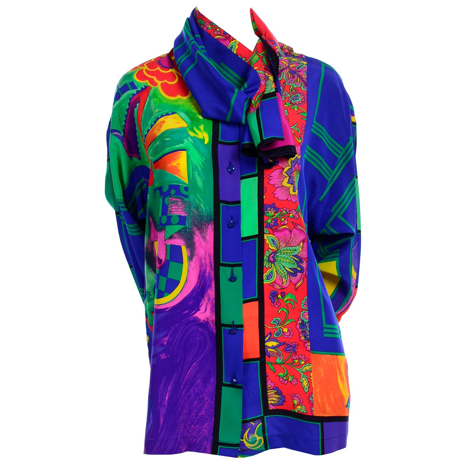 Early Gianni Versace Vintage Abstract Mixed Pattern Silk Print Blouse & Scarf