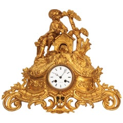 Early Gilt Bronze Antique French Clock, Dog and Master