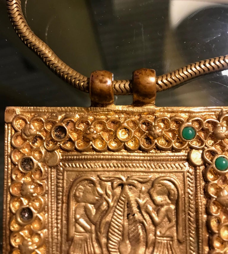 Early Gilt Bronze Necklace by Line Vautrin In Good Condition For Sale In North Miami, FL
