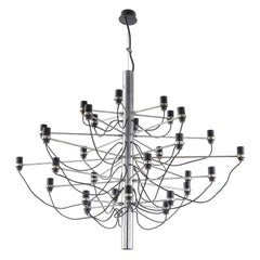 Early Gino Sarfatti for Arteluce Chrome Chandelier