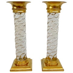 Early Glass and Ormolu Candlesticks