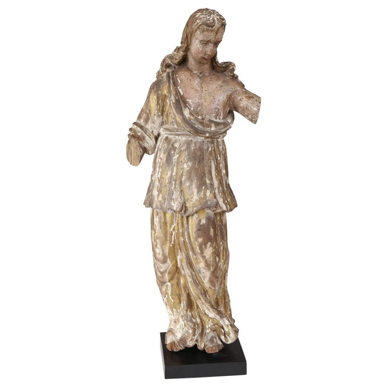 Early Hand Carved Italian Statue For Sale