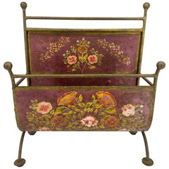 Early Hand Painted Red Flower Decorated Magazine Rack