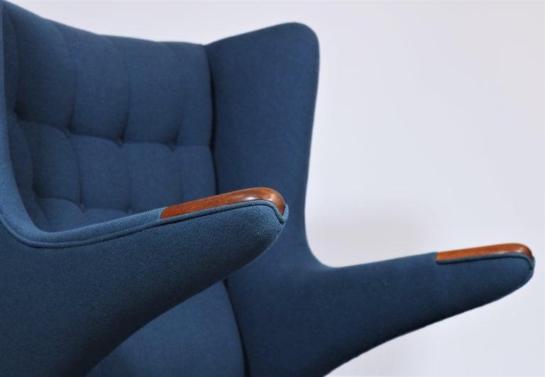 Scandinavian Modern Early Hans J. Wegner Papa Bear Chair in Teak and Blue Hallingdal Wool, 1960s For Sale