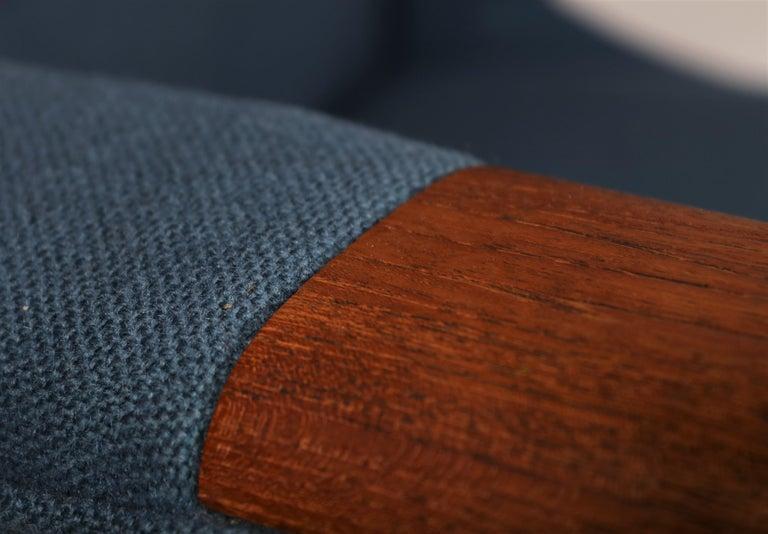 Danish Early Hans J. Wegner Papa Bear Chair in Teak and Blue Hallingdal Wool, 1960s For Sale