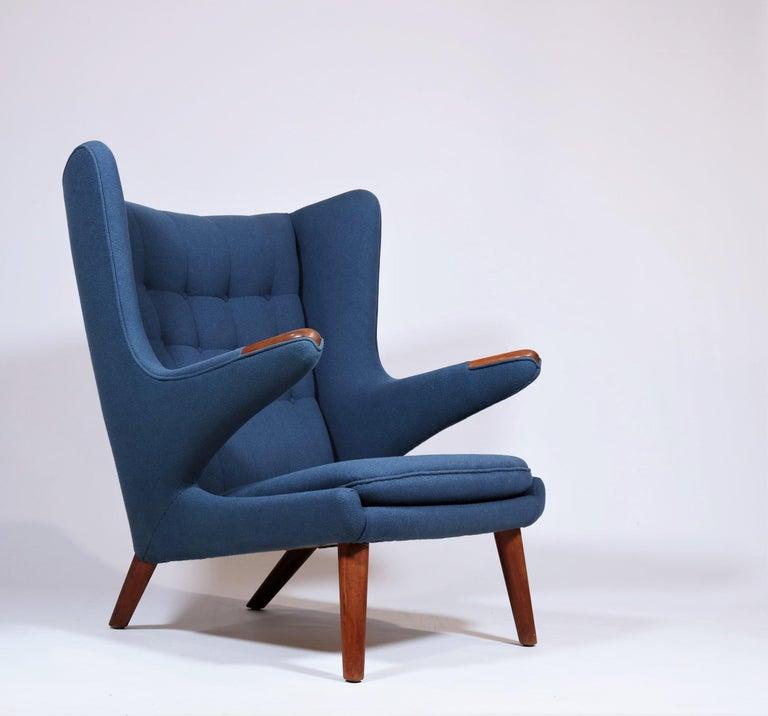 Mid-20th Century Early Hans J. Wegner Papa Bear Chair in Teak and Blue Hallingdal Wool, 1960s For Sale