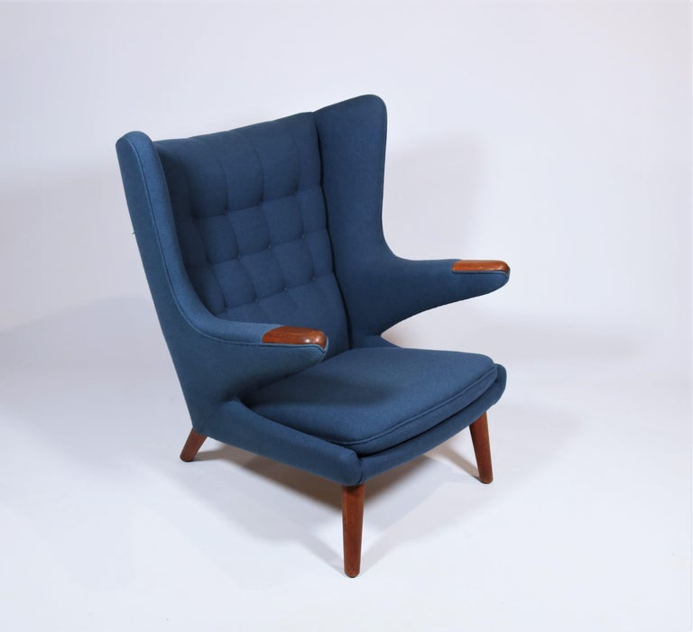 Early Hans J. Wegner Papa Bear Chair in Teak and Blue Hallingdal Wool, 1960s For Sale 2