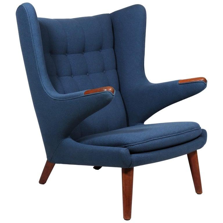 Early Hans J. Wegner Papa Bear Chair in Teak and Blue Hallingdal Wool, 1960s For Sale