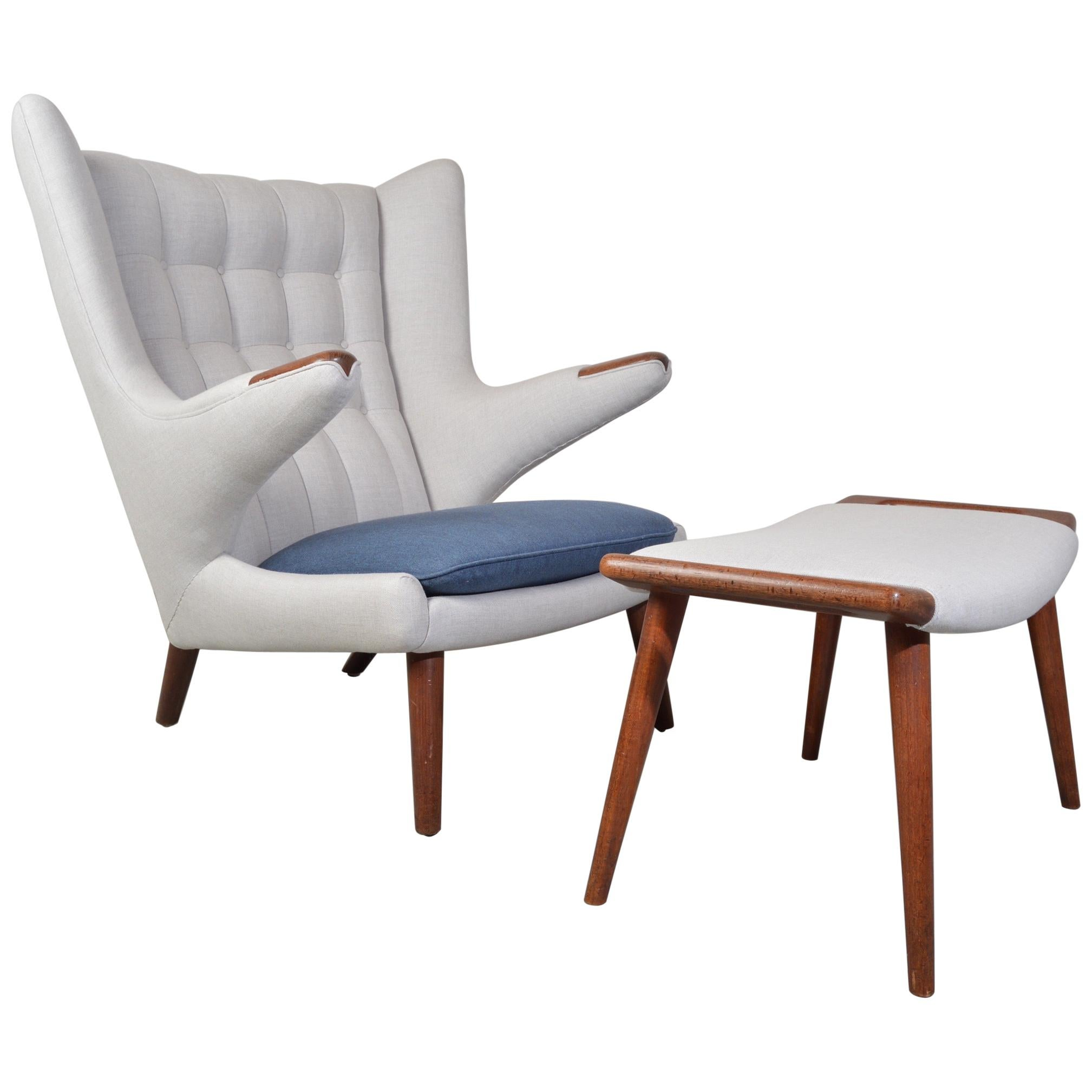 Early Hans Wegner AP-19 Papa Bear Chair and Ottoman in Teak