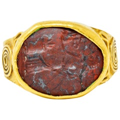 Early Hardstone Intaglio 18 Karat Gold Unisex Signet Ring