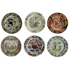 Early Harlequin Set of Six Masons Ironstone Dinner Plates, Some Rare Patterns