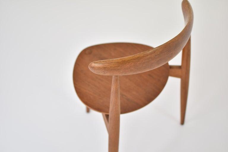 Teak Early 'Heart' Side Chair by Hans J. Wegner for Fritz Hansen, Denmark, 1952 For Sale
