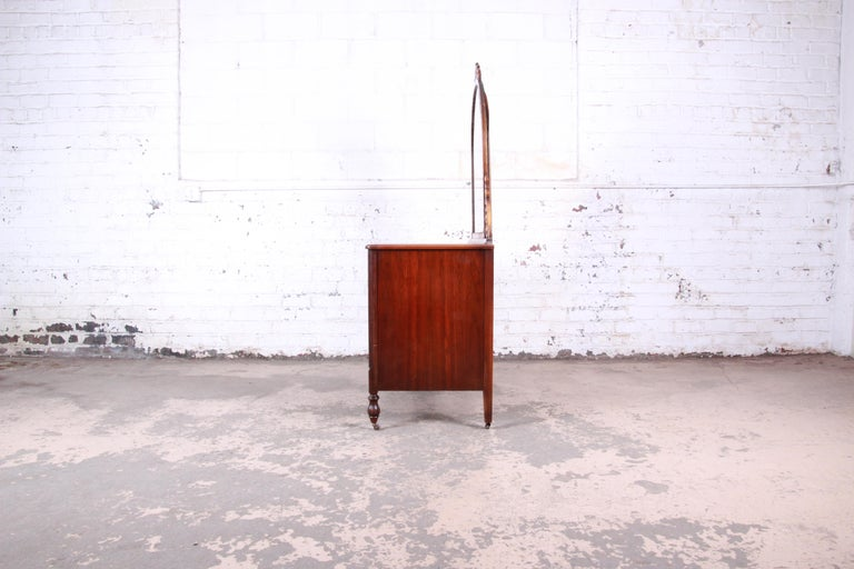 Early Herman Miller Ornate Walnut and Burl Wood Dresser with Mirror, circa 1920s For Sale 4