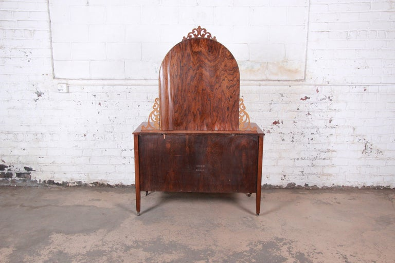 Early Herman Miller Ornate Walnut and Burl Wood Dresser with Mirror, circa 1920s For Sale 5