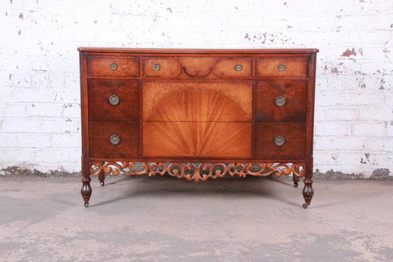 Early Herman Miller Ornate Walnut and Burl Wood Dresser with Mirror, circa 1920s For Sale 7