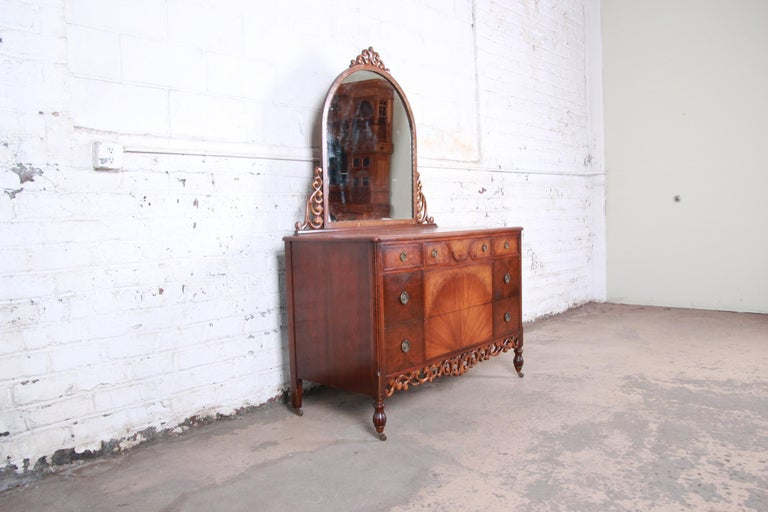Jacobean Early Herman Miller Ornate Walnut and Burl Wood Dresser with Mirror, circa 1920s For Sale