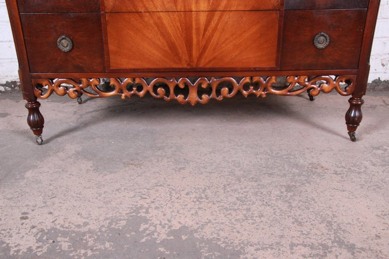 Early Herman Miller Ornate Walnut and Burl Wood Dresser with Mirror, circa 1920s In Good Condition For Sale In South Bend, IN