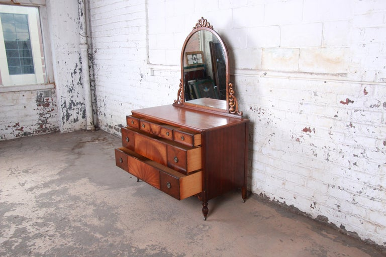 Early 20th Century Early Herman Miller Ornate Walnut and Burl Wood Dresser with Mirror, circa 1920s For Sale