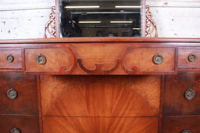 Early Herman Miller Ornate Walnut and Burl Wood Dresser with Mirror, circa 1920s For Sale 1