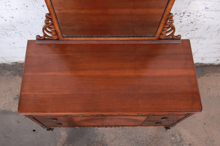 Early Herman Miller Ornate Walnut and Burl Wood Dresser with Mirror, circa 1920s For Sale 3