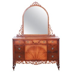 Early Herman Miller Ornate Walnut and Burl Wood Dresser with Mirror, circa 1920s