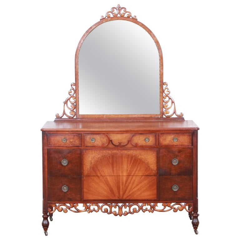 Early Herman Miller Ornate Walnut and Burl Wood Dresser with Mirror, circa 1920s For Sale