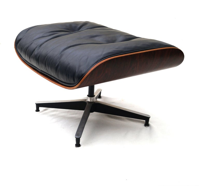 Early Herman Miller Rosewood Charles Eames Black Leather Lounge Chair & Ottoman 3