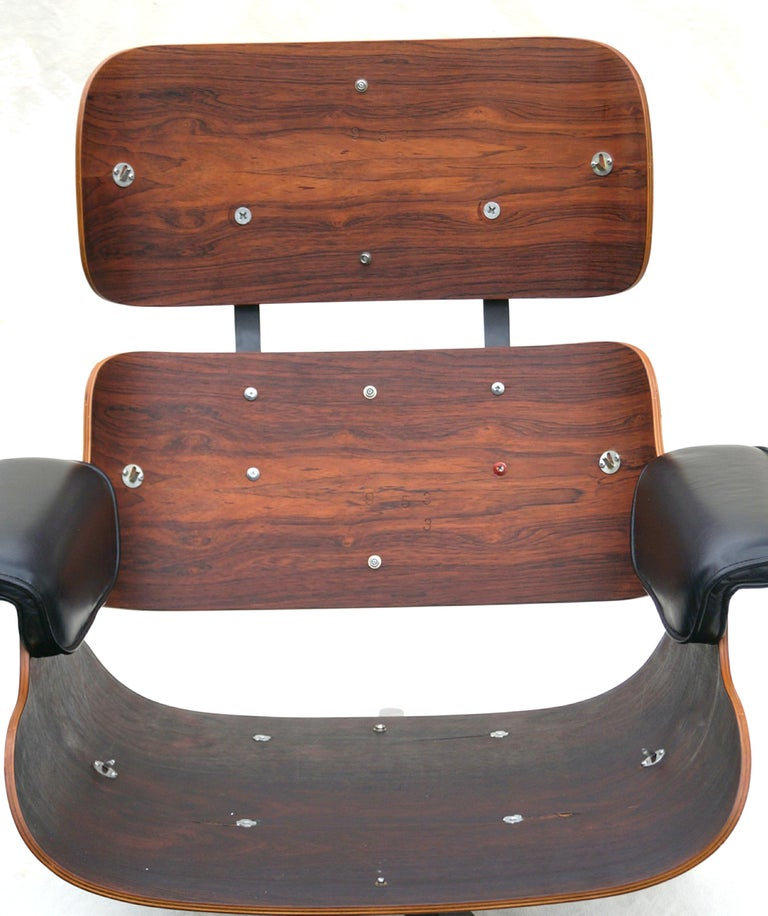 Early Herman Miller Rosewood Charles Eames Black Leather Lounge Chair & Ottoman 7