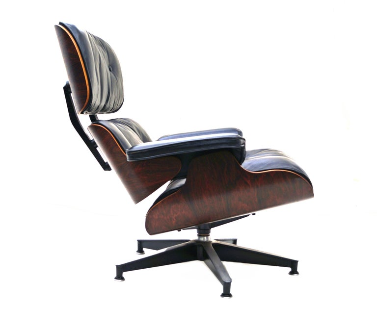 Mid-Century Modern Early Herman Miller Rosewood Charles Eames Black Leather Lounge Chair & Ottoman