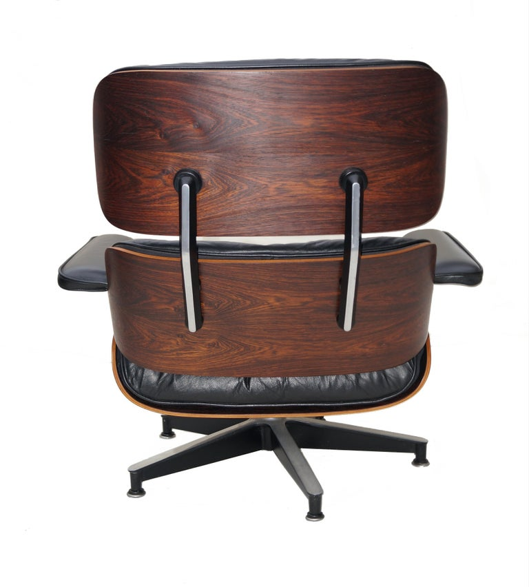 North American Early Herman Miller Rosewood Charles Eames Black Leather Lounge Chair & Ottoman