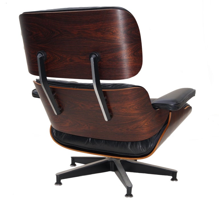 Other Early Herman Miller Rosewood Charles Eames Black Leather Lounge Chair & Ottoman
