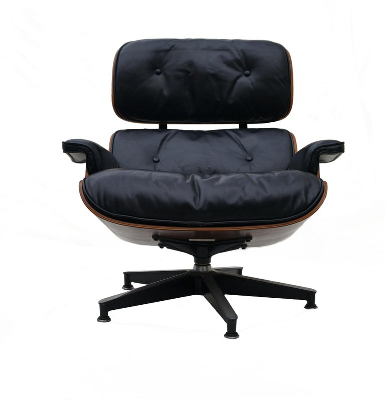 Mid-20th Century Early Herman Miller Rosewood Charles Eames Black Leather Lounge Chair & Ottoman