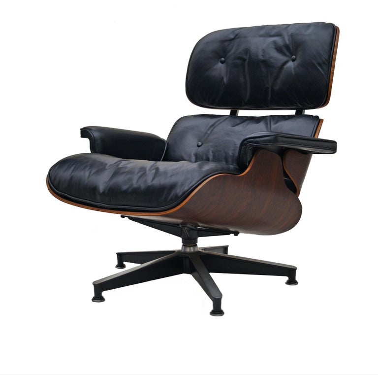 Early Herman Miller Rosewood Charles Eames Black Leather Lounge Chair & Ottoman 1