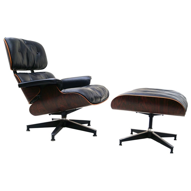 Early Herman Miller Rosewood Charles Eames Black Leather Lounge Chair & Ottoman