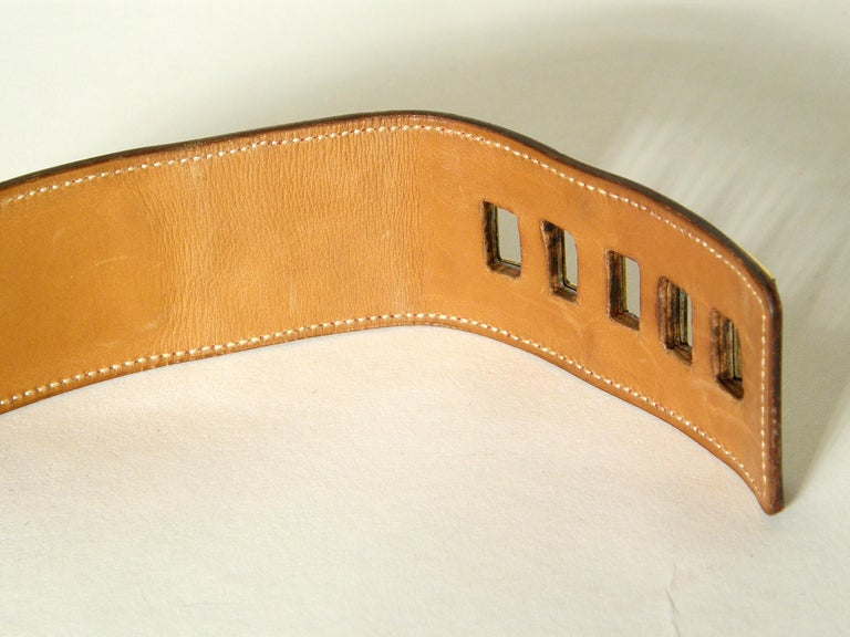 Early Hermès Collier de Chien Belt Adjustable Red Leather CDC with Gold Hardware For Sale 7