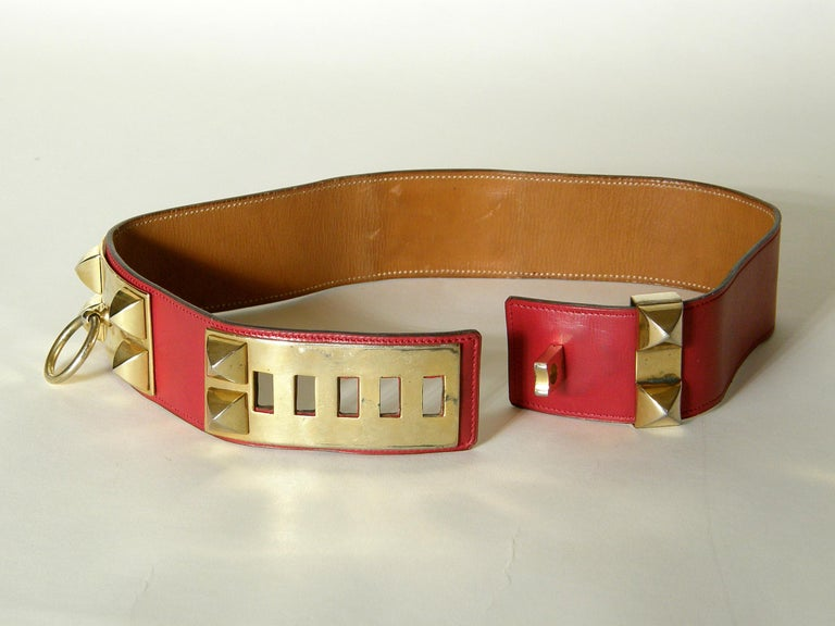 Early Hermès Collier de Chien Belt Adjustable Red Leather CDC with Gold Hardware In Good Condition For Sale In Chicago, IL