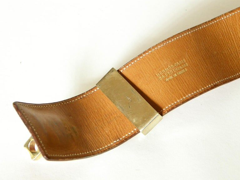 Early Hermès Collier de Chien Belt Adjustable Red Leather CDC with Gold Hardware For Sale 5