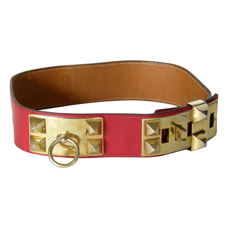 Early Hermès Collier de Chien Belt Adjustable Red Leather CDC with Gold Hardware For Sale