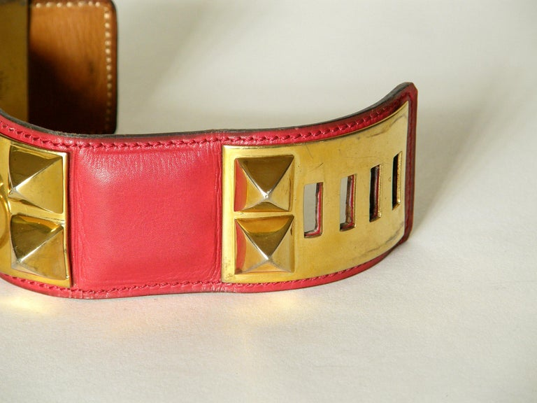 Early Hermès Collier de Chien Cuff Bracelet Red Leather CDC with Gold Hardware For Sale 1