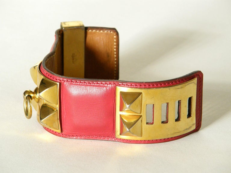 Early Hermès Collier de Chien Cuff Bracelet Red Leather CDC with Gold Hardware For Sale 2