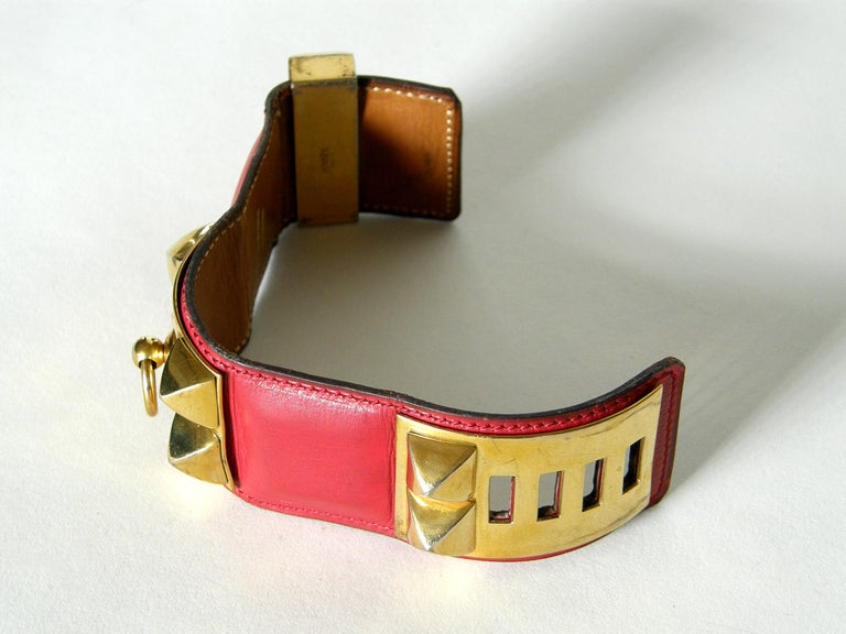 Early Hermès Collier de Chien Cuff Bracelet Red Leather CDC with Gold Hardware For Sale 3