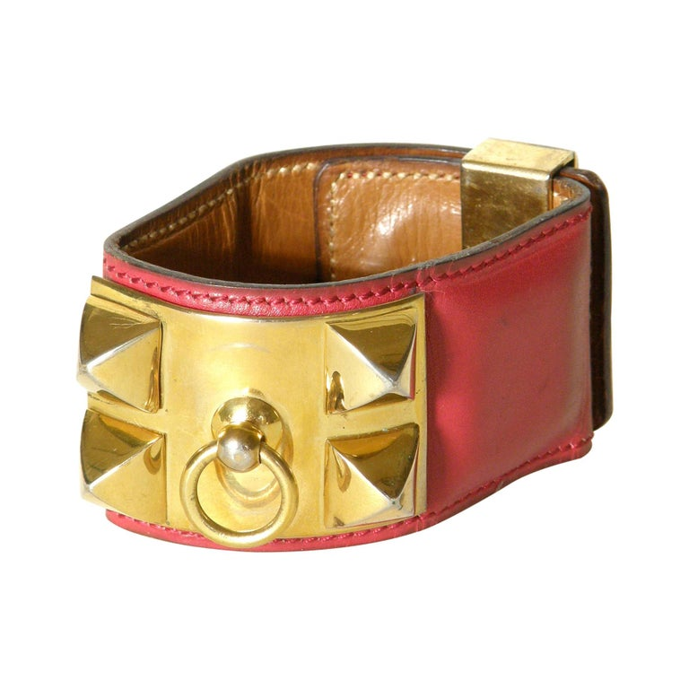 Early Hermès Collier de Chien Cuff Bracelet Red Leather CDC with Gold Hardware For Sale