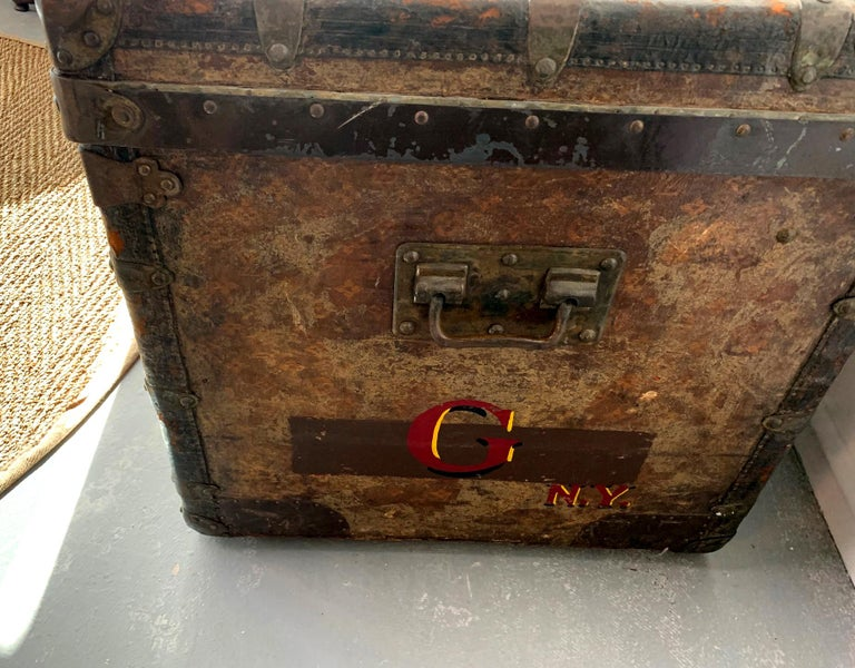 Early Historically Important Vintage Louis Vuitton Steamer Trunk For Sale 3