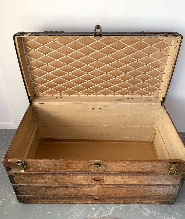 Early Historically Important Vintage Louis Vuitton Steamer Trunk In Fair Condition For Sale In North Miami, FL