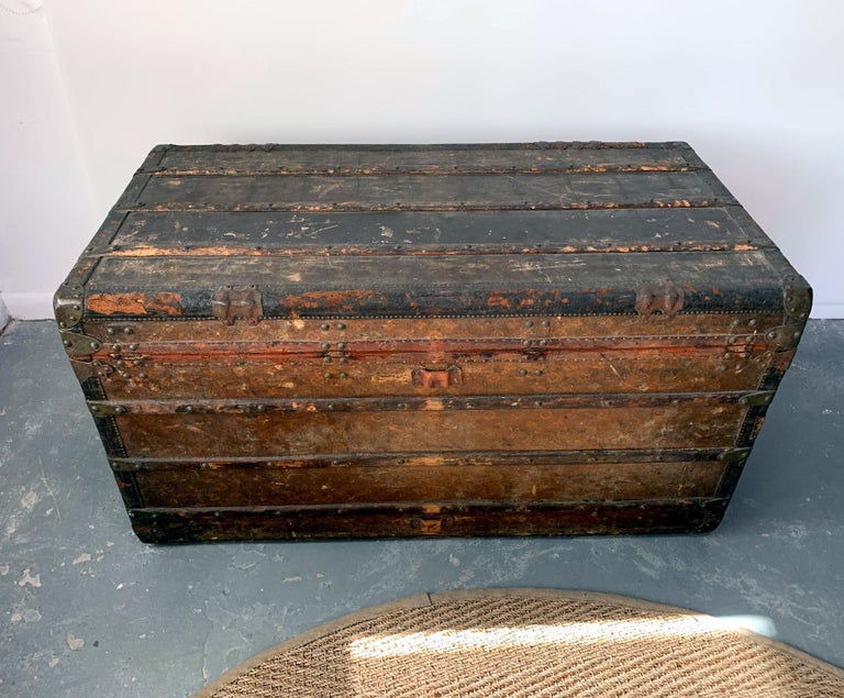 Leather Early Historically Important Vintage Louis Vuitton Steamer Trunk For Sale