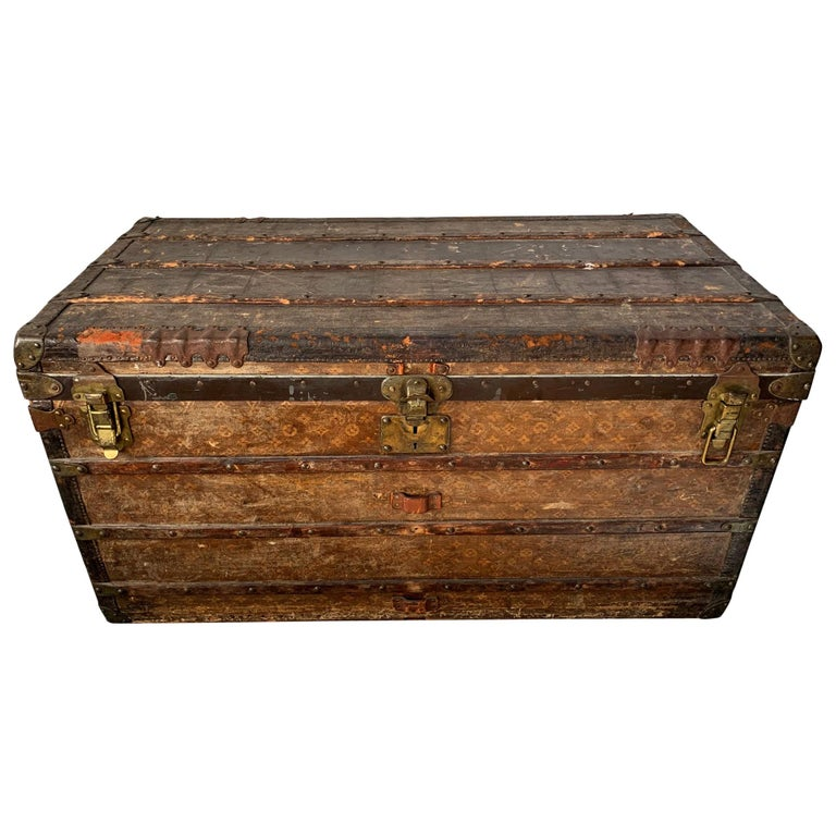 Early Historically Important Vintage Louis Vuitton Steamer Trunk For Sale
